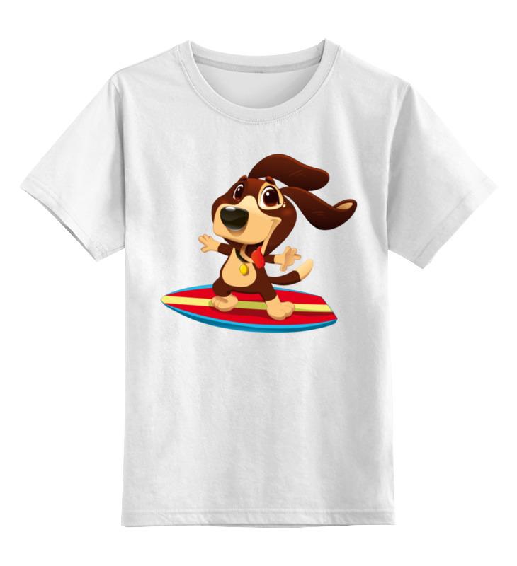 Детская футболка Printio Собака на серфе цв.белый р.116 0000002277760 по цене 790
