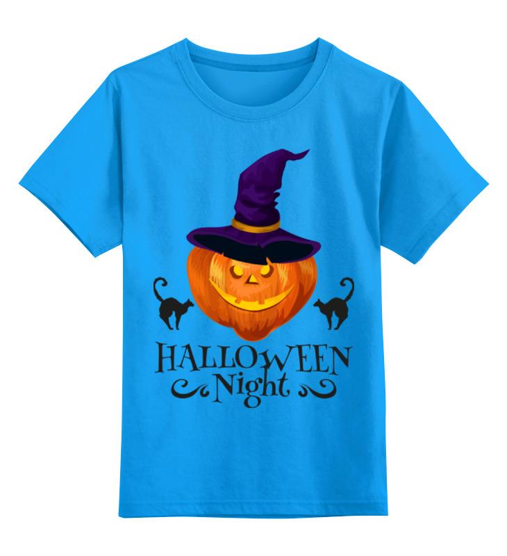 Купить 0000002270675, Детская футболка Printio Хэллоуин цв.голубой р.116,