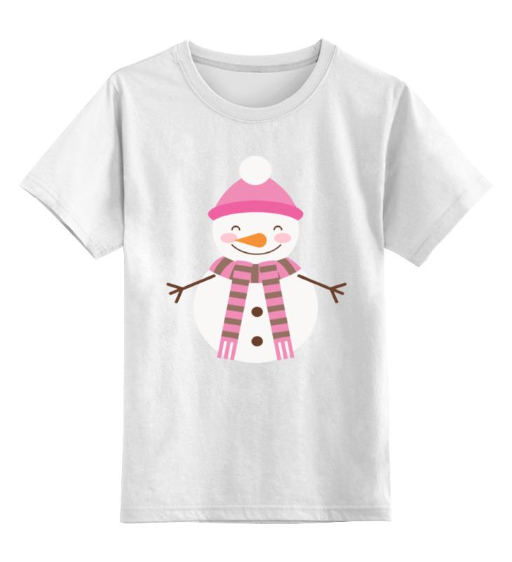 Купить 0000002172236, Детская футболка Printio Снеговик цв.белый р.116,