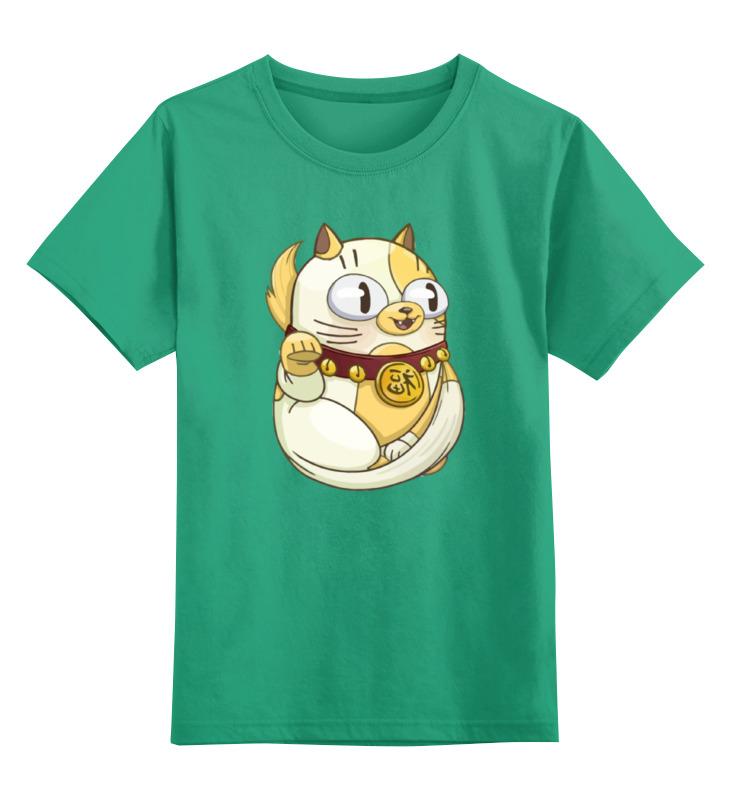 Купить 0000002162341, Детская футболка Printio Милый котик цв.зеленый р.116,