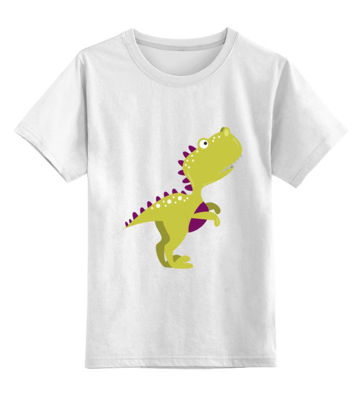 Купить 0000002143289, Детская футболка Printio Динозавр цв.белый р.116,