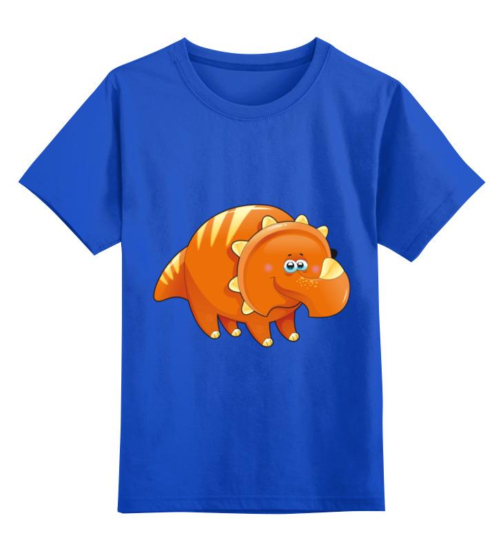 Купить 0000002079311, Детская футболка Printio Забавный динозавр цв.синий р.116,