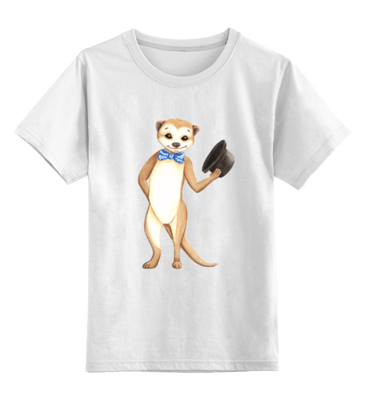 Купить 0000002171924, Детская футболка Printio Вежливый сурикат цв.белый р.128,