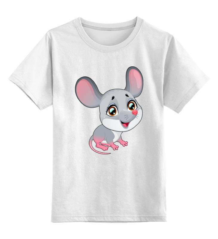 Купить 0000001986981, Детская футболка Printio Мышонок цв.белый р.128,