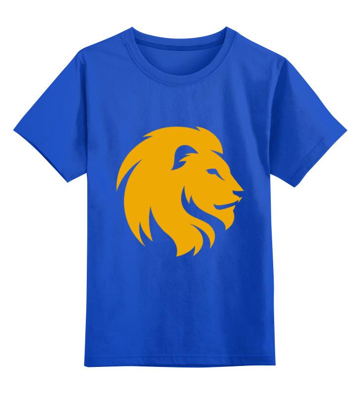 Купить 0000001911478, Детская футболка Printio Царь лев цв.синий р.128,