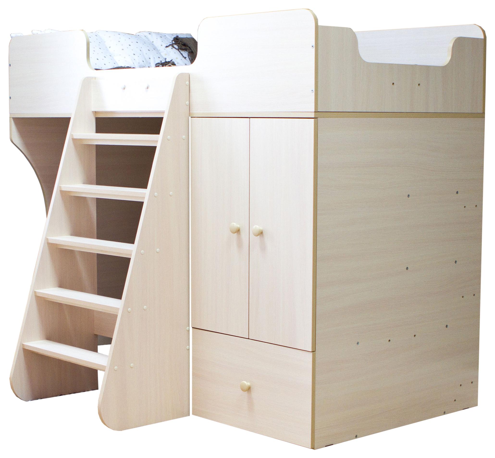 Кровать чердак Капризун со шкафом дуб млечный