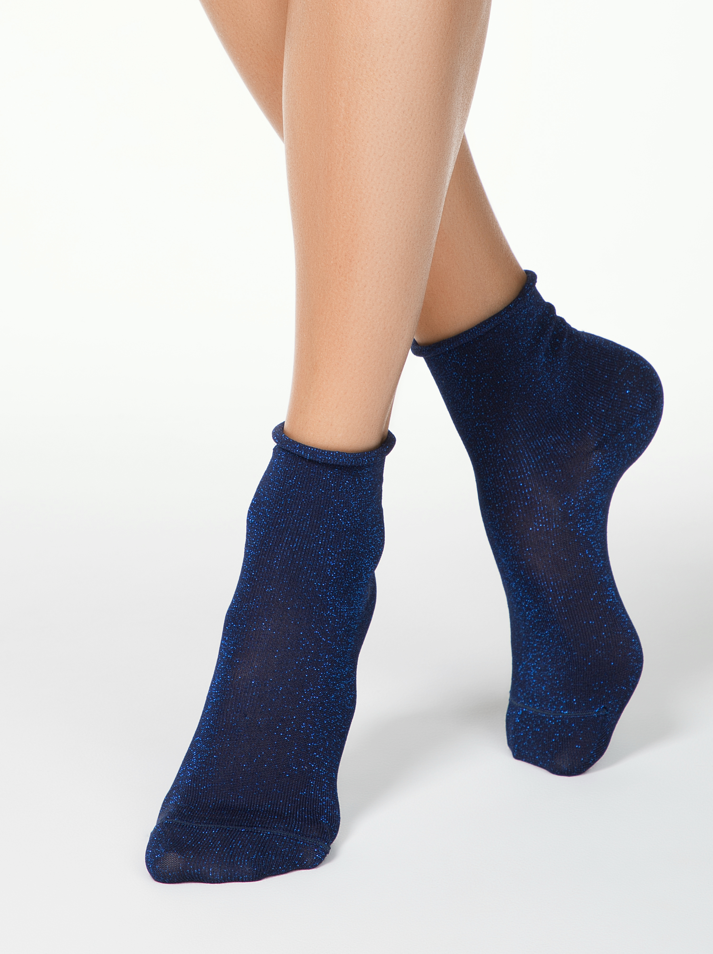 Носки женские Conte CLASSIC (люрекс, без резинки) 17С-16СП синие 25