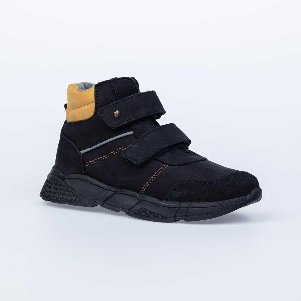 Купить 552150-33, Ботинки для мальчиков Котофей цв.черный, желтый р.31,