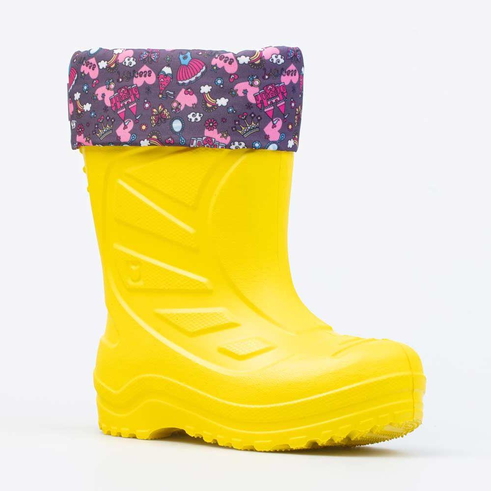 Купить 265001-18, Резиновая обувь для девочек Котофей цв.желтый, фуксия р.24,
