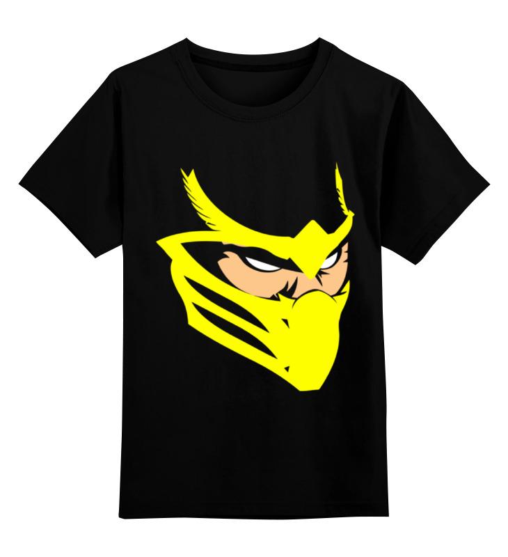 Купить 0000001172919, Детская футболка Printio Скорпион мортал комбат цв.черный р.152,