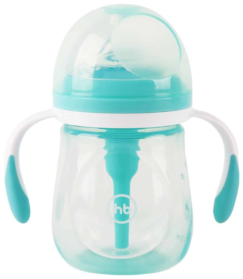 Бутылочка антиколиковая Happy Baby с ручками и силиконовой соской 180 мл aqua