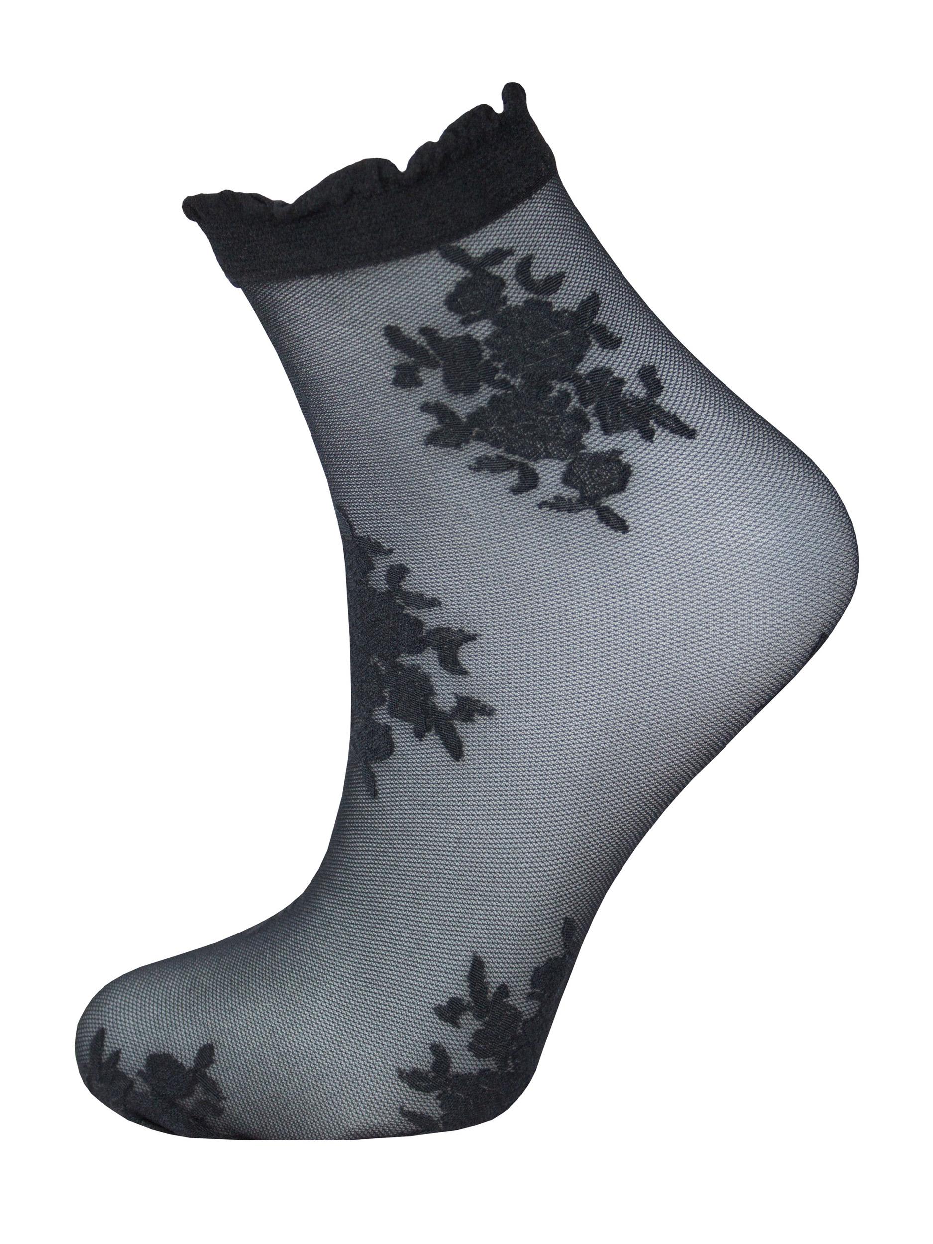 Капроновые носки женские Trasparenze Araja (c.) UNI nero T (чёрные с рисунком)