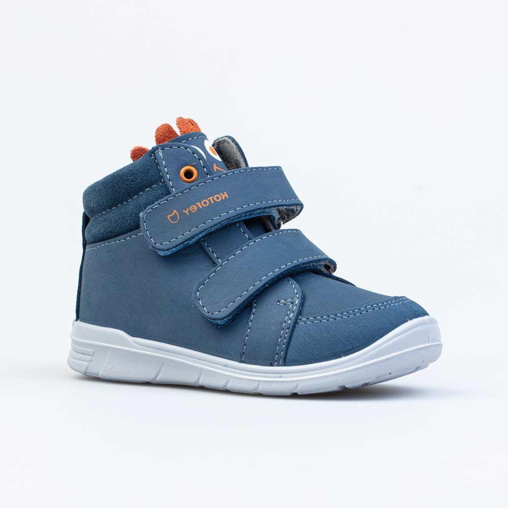 Купить 352310-21, Ботинки для мальчиков Котофей цв.синий, оранжевый р.25,