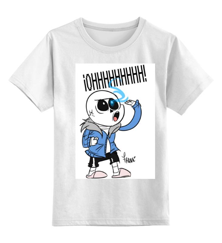 Купить 0000001319679, Детская футболка Printio Санс из undertale цв.белый р.164,