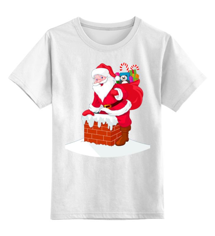 Купить 0000001034553, Детская футболка Printio Дед мороз с подарками цв.белый р.164,