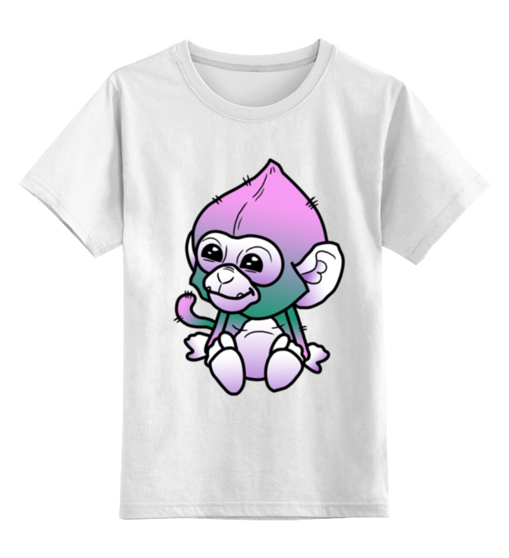 Купить 0000001025160, Детская футболка Printio Обезьяна цв.белый р.104,