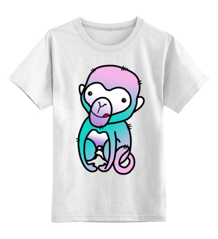 Купить 0000001022381, Детская футболка Printio Обезьяна цв.белый р.104,
