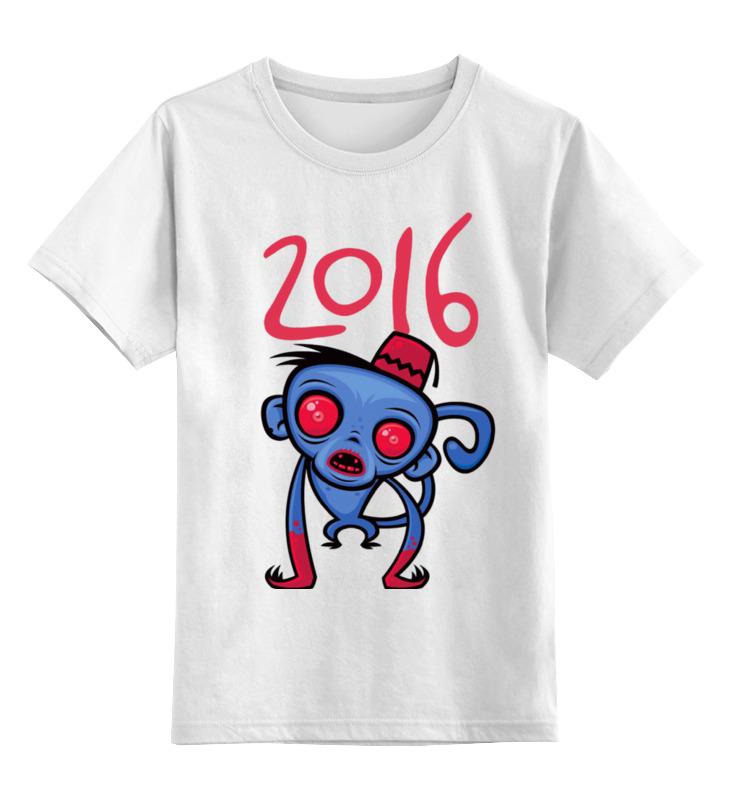 Купить 0000000905898, Детская футболка Printio Год обезьяны цв.белый р.104,