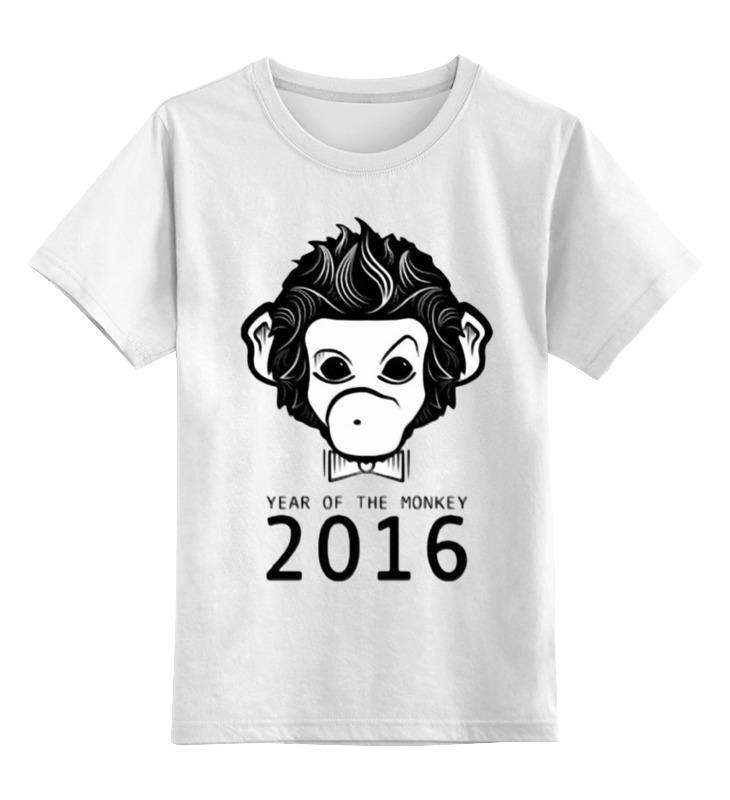 Купить 0000000905832, Детская футболка Printio Год обезьяны цв.белый р.104,