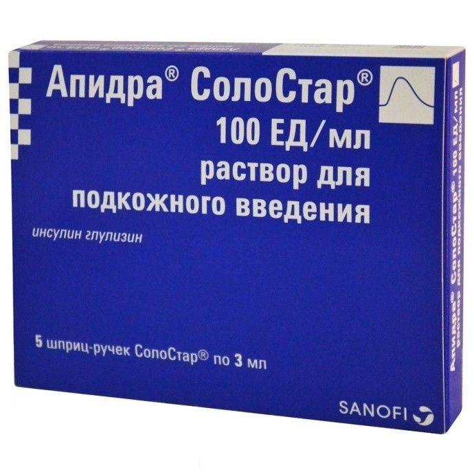 Апидра СолоСтар раствор 100 ЕД/мл 3 мл 5 шт.