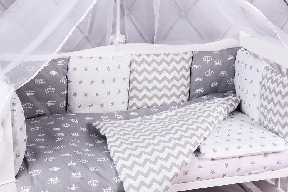 Купить Бортик в кроватку AmaroBaby ROYAL BABY серый, бязь, 12 предметов, Бортики в кроватку для новорожденных