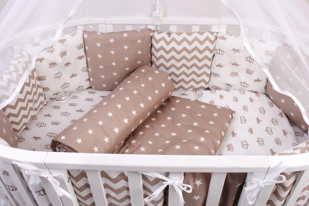 Купить Бортик в кроватку AmaroBaby ROYAL BABY бирюзовый, бязь, 12 предметов, Бортики в кроватку для новорожденных