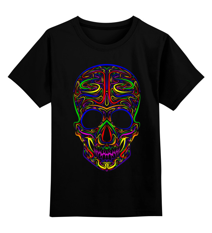 Купить 0000000996757, Детская футболка Printio Skull art цв.черный р.128,