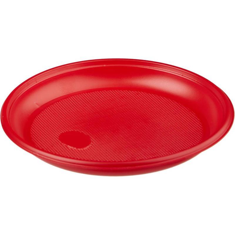 Тарелка одноразовая пластиковая красная 165 мм