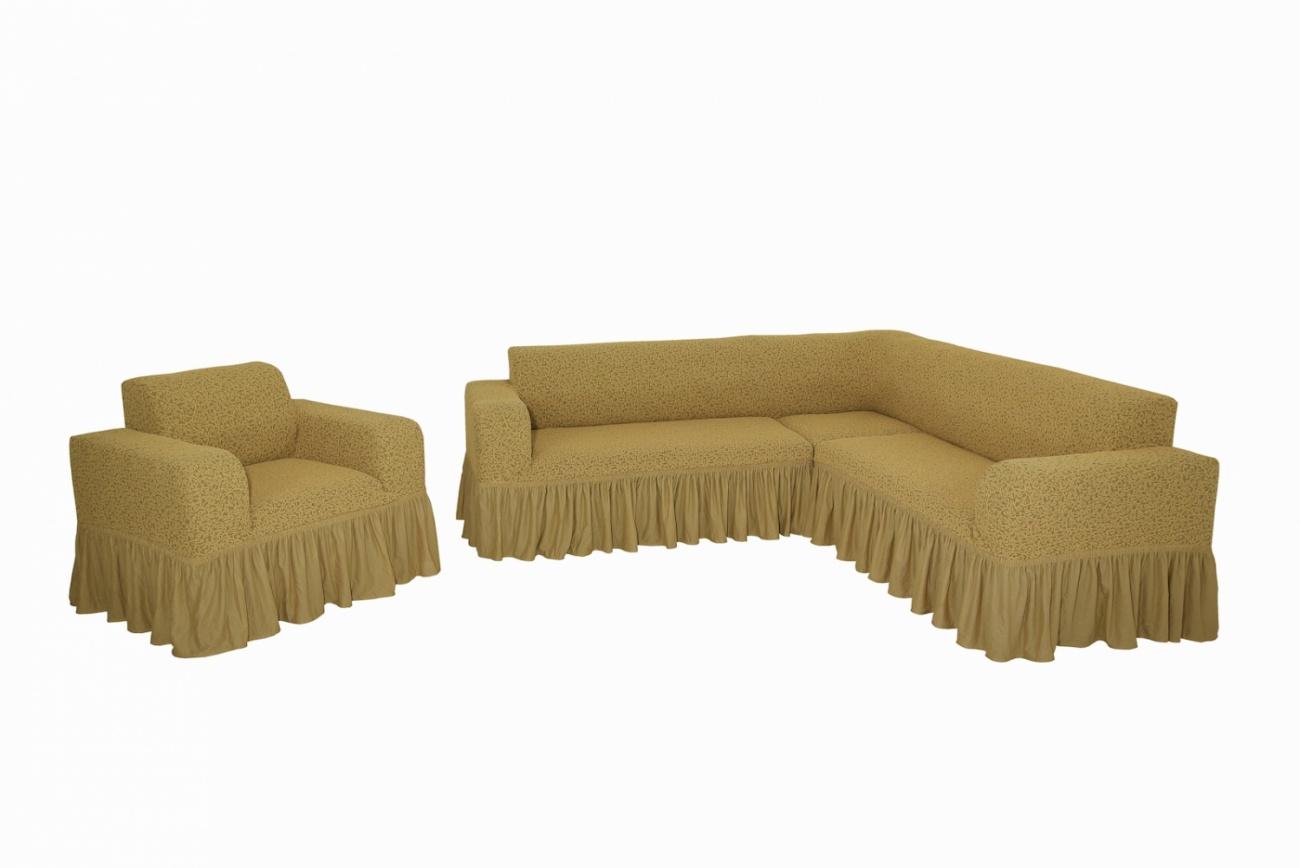 Комплект чехлов на угловой диван и кресло с оборкой Venera Жаккард, светло-коричневый