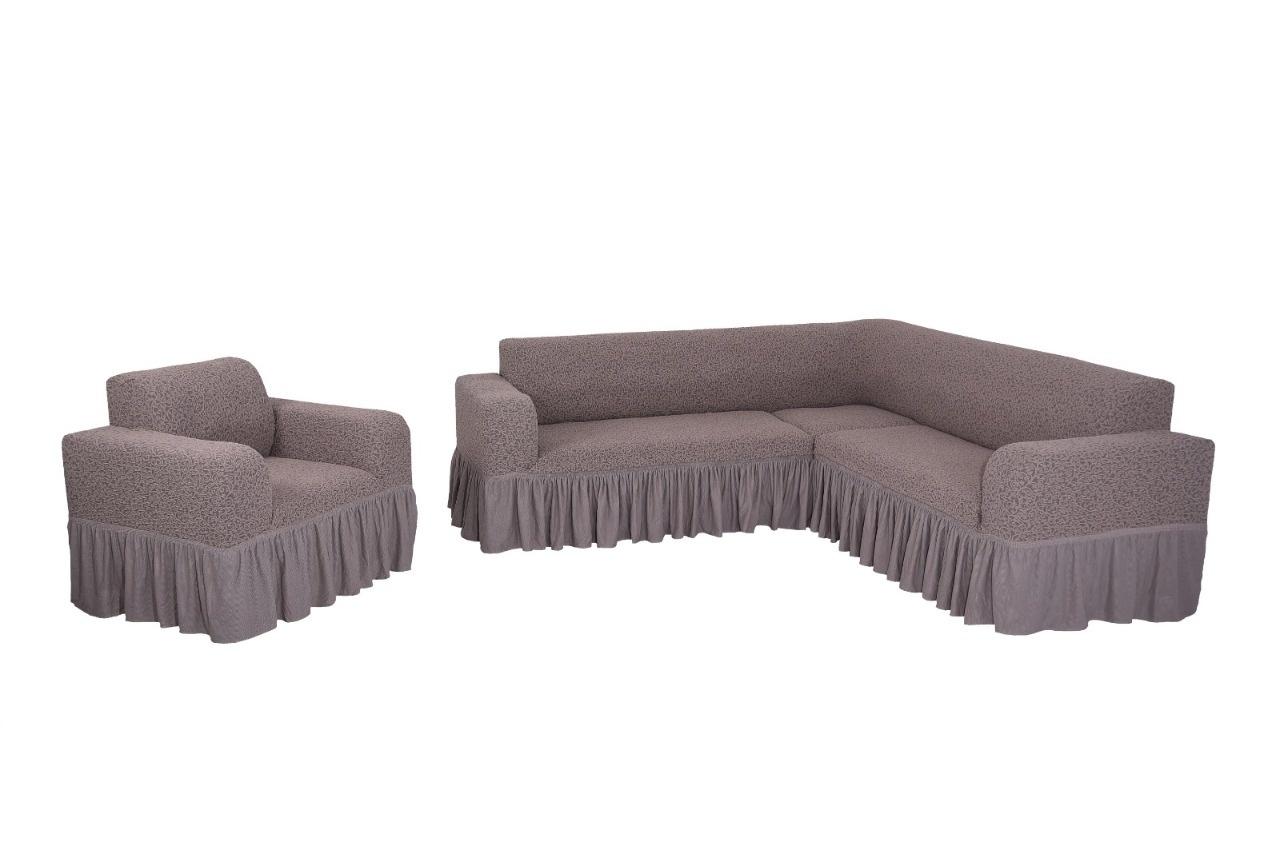 Комплект чехлов на угловой диван и кресло с оборкой Venera Жаккард, тёмно-сиреневый