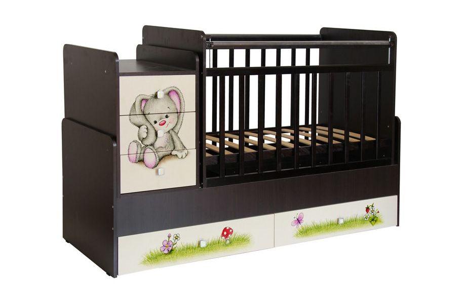 Кроватка трансформер детская Фея 1100 Зайчонок, венге