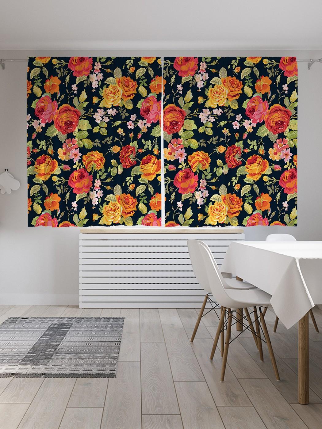 Шторы под лён «Цветочный ковер», серия Oxford DeLux, 290х180 см