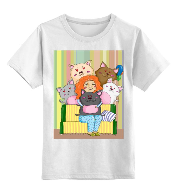 Детская футболка Printio Люблю котов цв.белый р.128 0000000791291 по цене 790