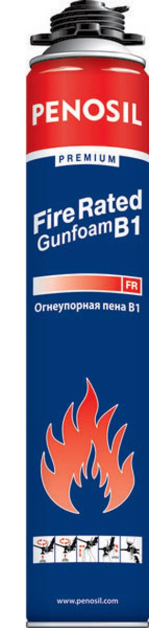 Пена монтажная Penosil Premium Fire Rated Gunfoam B1, огнеупорная, профессиональная, 750мл