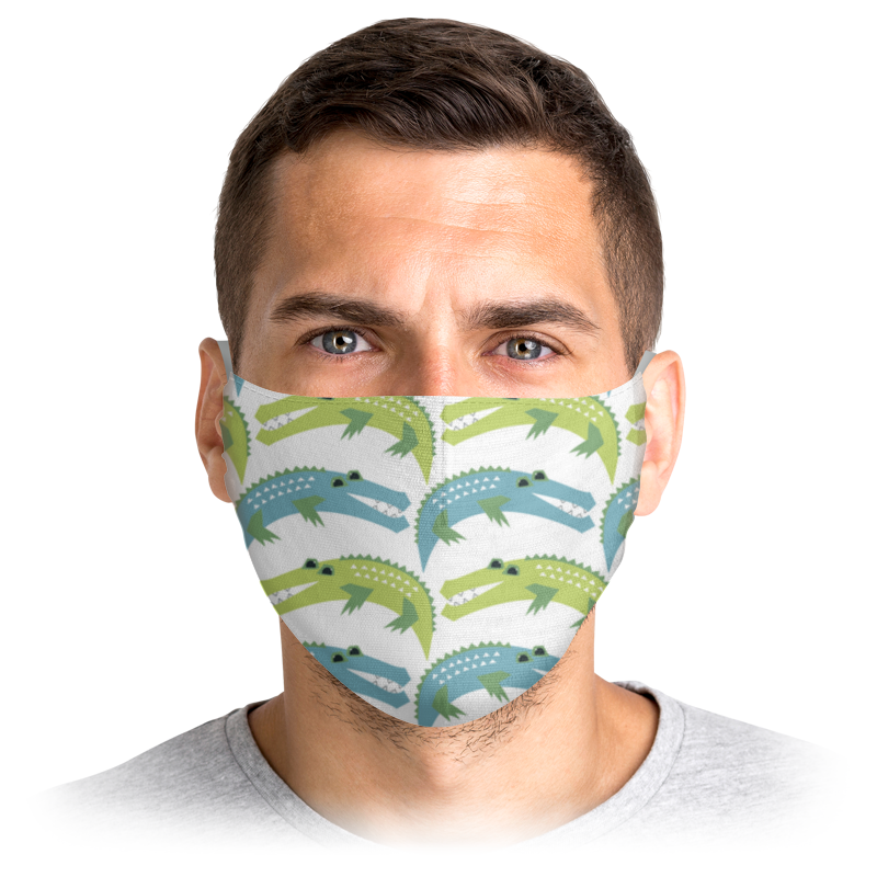 Многоразовая маска Printio Крокодилы белая S