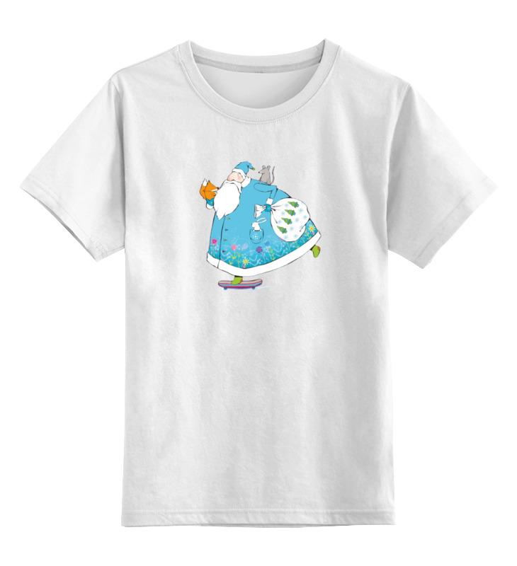 Купить 0000000788969, Детская футболка Printio Дед мороз на скейте цв.белый р.164,