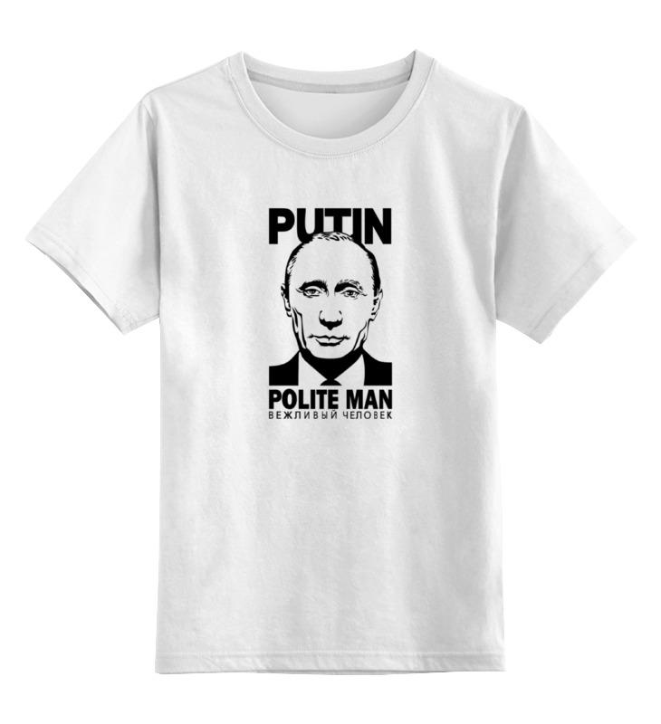 Купить 0000000786221, Детская футболка Printio Путин цв.белый р.164,