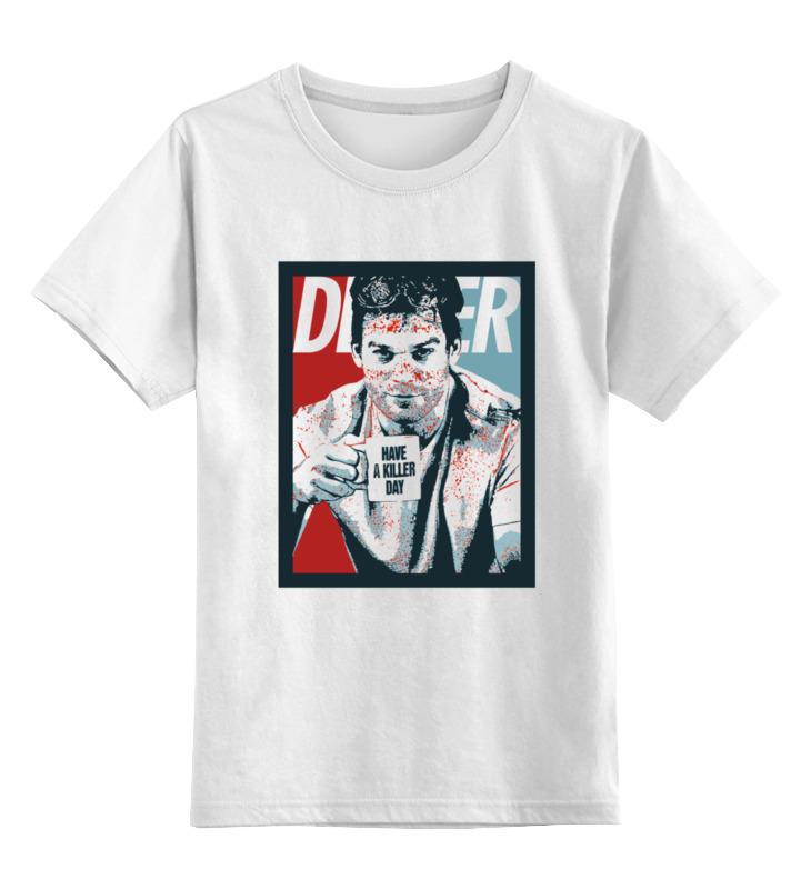Купить 0000000794453, Детская футболка Printio Dexter цв.белый р.140,