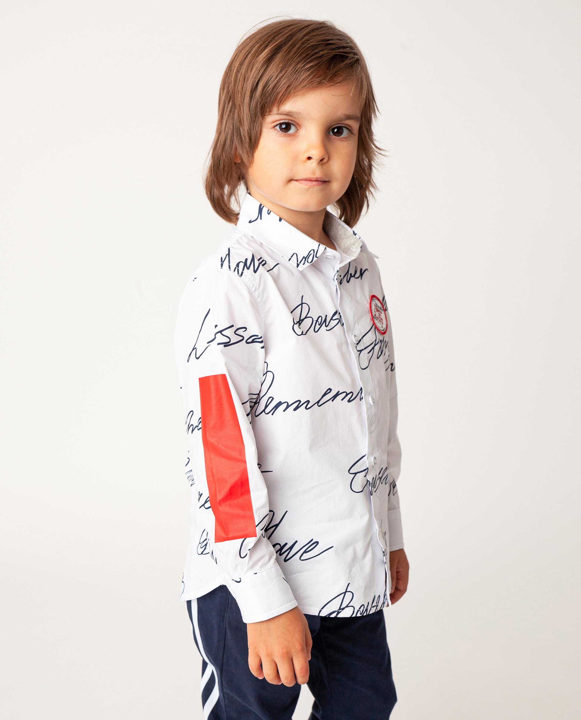 Купить Белая рубашка с длинным рукавом Gulliver 22005BMC2301, размер 110,