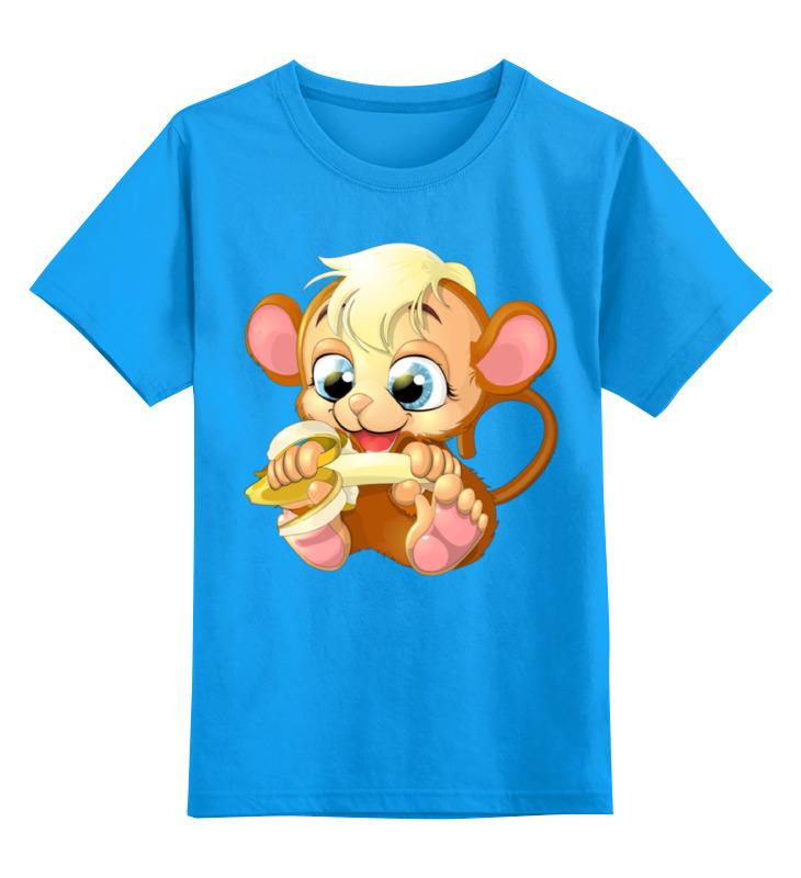 Купить 0000001149652, Детская футболка Printio Обезьянка цв.голубой р.116,