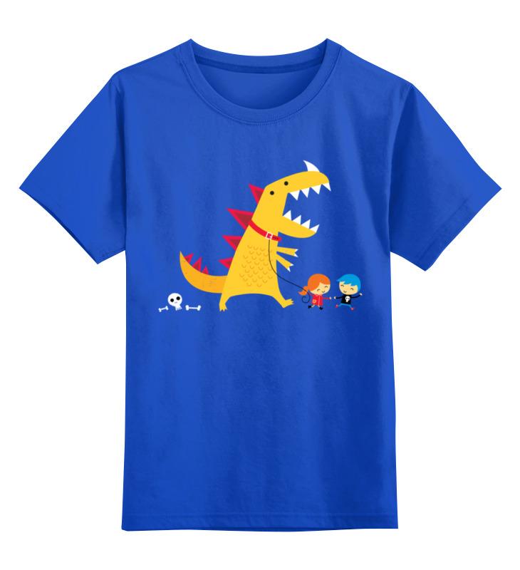 Купить 0000001078753, Детская футболка Printio Динозавр цв.синий р.116,