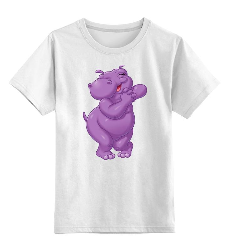 Детская футболка Printio Счастливый бегемотик цв.белый р.116 0000001037014