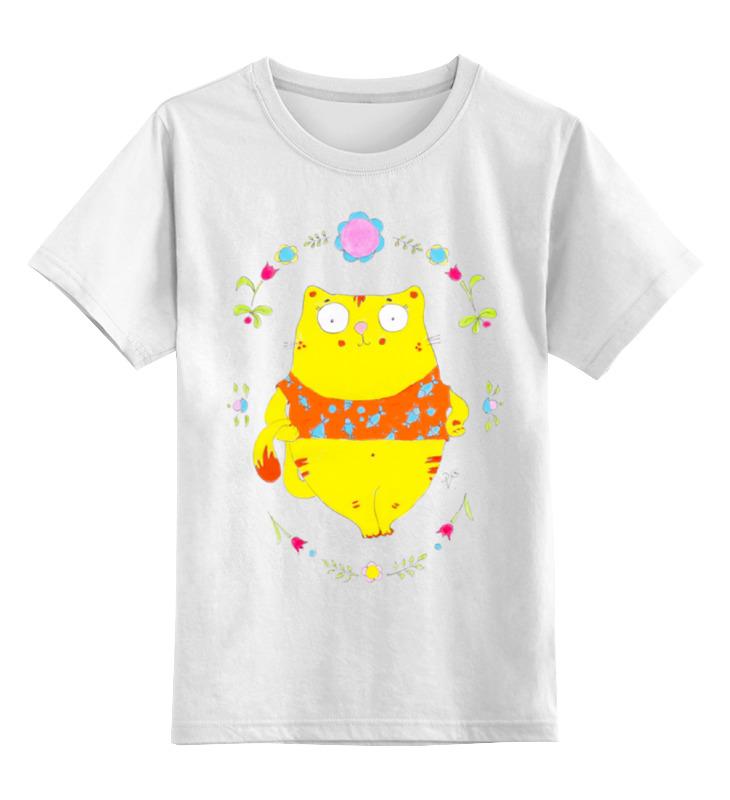 Купить 0000000827227, Детская футболка Printio Толстый котик цв.белый р.116,