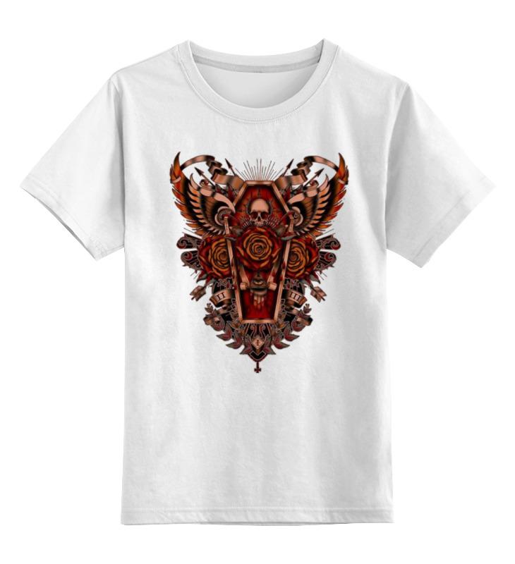 Купить 0000000999594, Детская футболка Printio Coffin art цв.белый р.128,