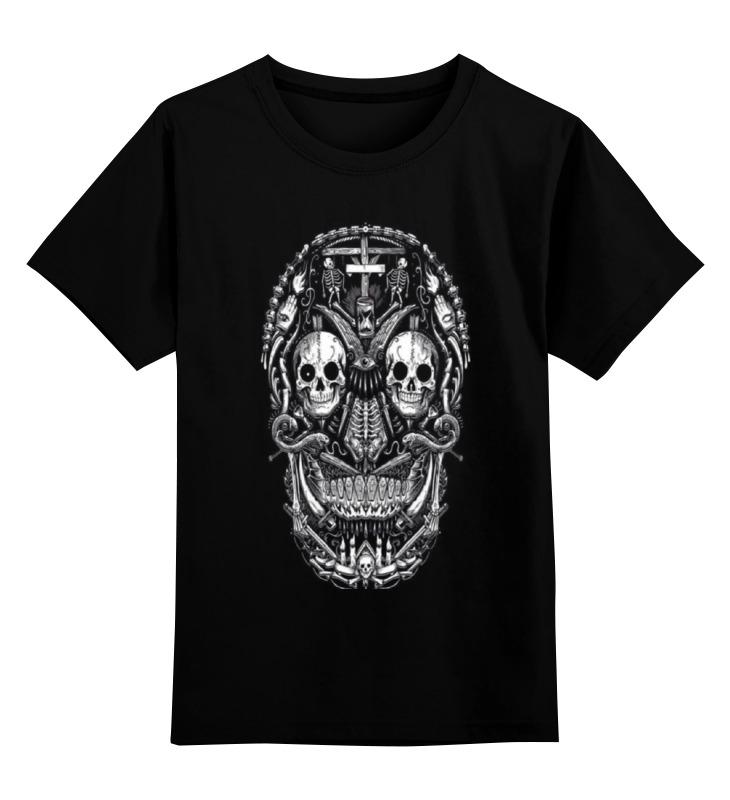 Купить 0000000999411, Детская футболка Printio Skull art цв.черный р.128,