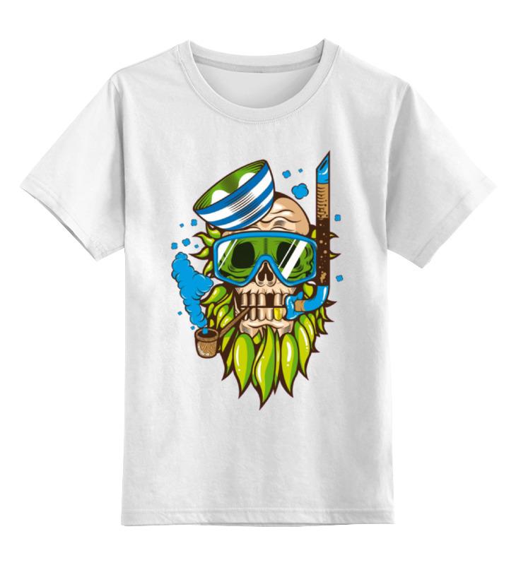Купить 0000000910044, Детская футболка Printio Skull art цв.белый р.128,