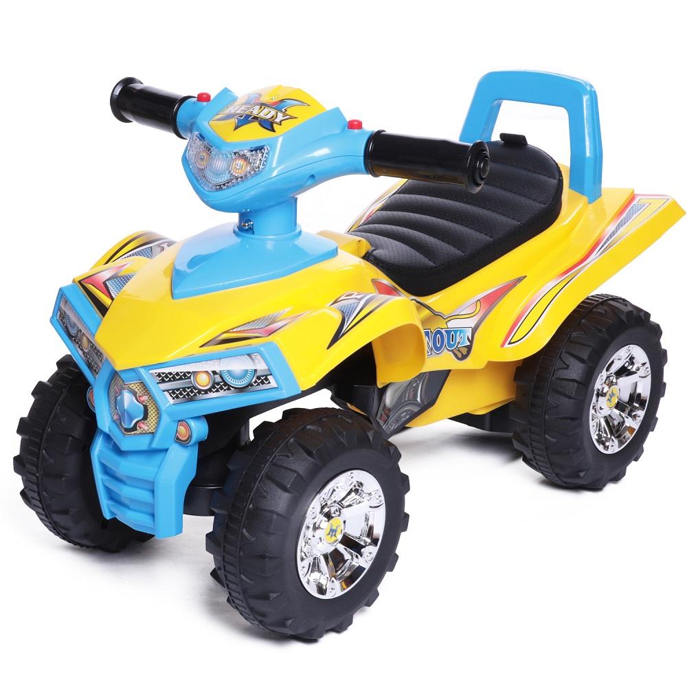 Купить Каталка детская Super ATV New, Каталка детская Babycare Super ATV Желтый/Синий (Yellow/Blue), кожаное сиденье, Baby Care,