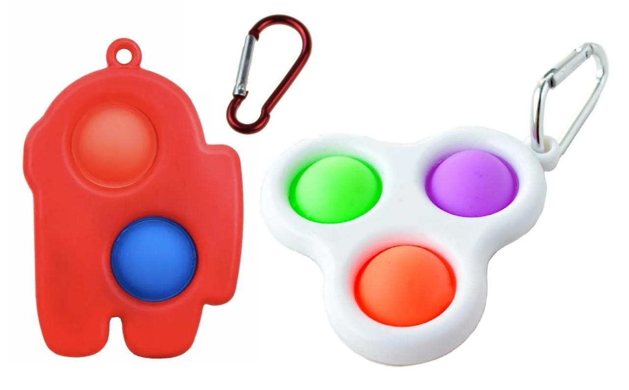 Игрушка-антистресс Pop It с карабином набор 2 шт (красная/белая малые)