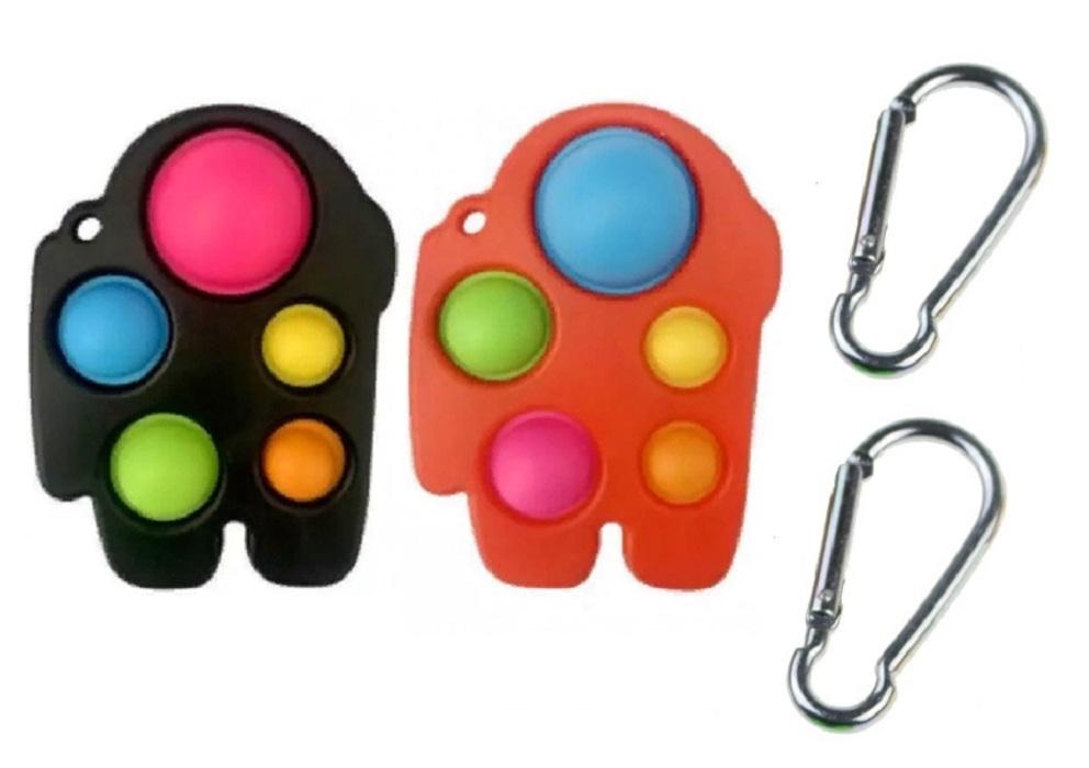 Игрушка-антистресс Pop It с карабином набор 2 шт (красная/черная большие)