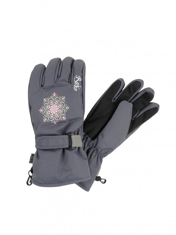 Перчатки для девочки Reike Snowflakes grey, RW20-SNW grey, 9 /13 лет/ 18 см